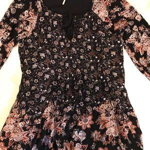 {Free People}Tunic dress top rayon flowy boho sz s
